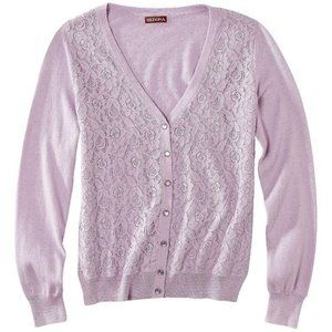Lace Front Knit Cardigan